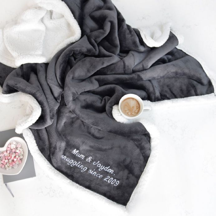 Personalised Dark Grey And White Super Soft Blanket
